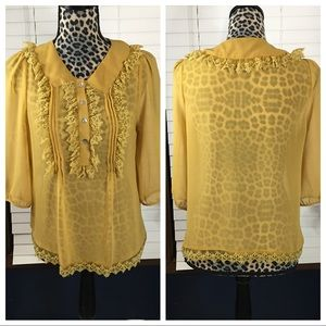 Free Hug Mustard Boho Lace Blouse Medium